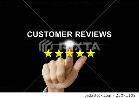 Stock Photo: business hand pushing customer reviews on screen