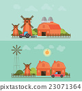 Set of agriculture farmhouse with wind mill. 23071364