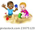 Boy and Girl on The Beach 23075120