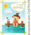Enjoy tropical summer holiday with little girl  4 23079144