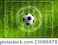 Soccer ball, green grass stadium with white layout 23086978