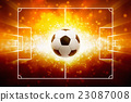 Sports background - burning soccer ball 23087008