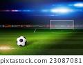 Soccer ball on soccer stadium 23087081
