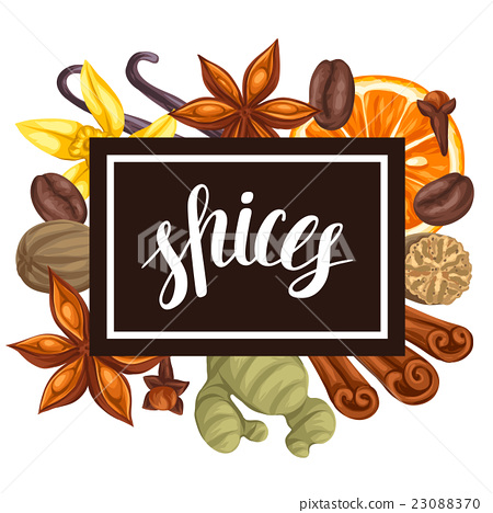 Frame design with various spices. Illustration of 23088370