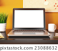 3D Office with blank laptop screen. Mockup 23088632
