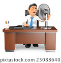 3D Businessman heated in his office with a fan 23088640