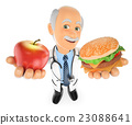 3D Doctor choosing between an apple and hamburger 23088641