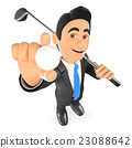 3D Businessman with a ball and a golf club 23088642
