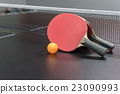 orange ball with red table tennis racket 23090993