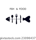Fish,spoon,fork and knife icon.Fish & food logo 23096437