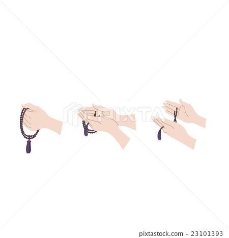 손 묵주 잡는 방법 일러스트 세트 23101393