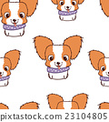 Seamless pattern with papillon puppies. Colorful 23104805