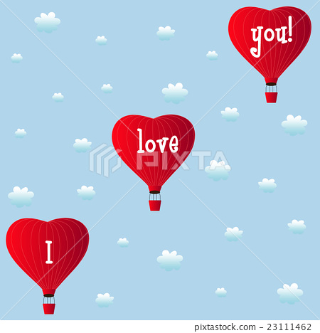 aerostats heart red flying in clouds 23111462