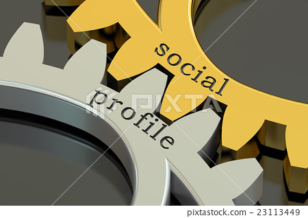 social profile concept on the gearwheels 23113449