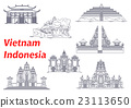 Ancient temples of Indonesia and Vietnam icons 23113650