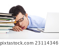 young businessman too weary to asleep on the desk 23114346