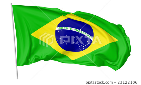 National flag of Brazil with flagpole 23122106