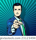 Successful businessman pointing finger vintage pop 23123494