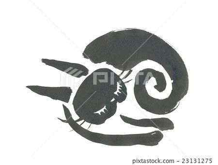 Black cat drew with ink (sleep) 23131275