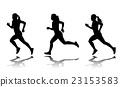silhouette of female sprinter - vector 23153583