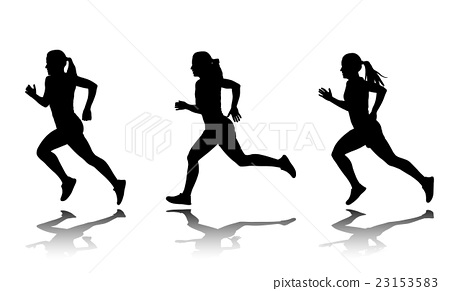 silhouette of female sprinter - vector 23153583