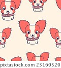 Seamless pattern with papillon puppies. Colorful 23160520