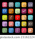Map sign line icons with long shadow 23162224