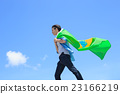Excited man holding brazil flag 23166219