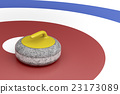 Curling stone in the target area 23173089