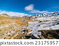 High altitude blue alpine lake in autumn season 23175957