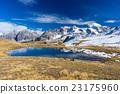 High altitude blue alpine lake in autumn season 23175960