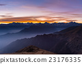Mountain silhouette with moon at sunset 23176335