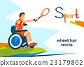 Disabled Athlete On Wheelchair Play Tennis Sport 23179802