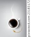 A realistic cup of black coffee, coffee cup stain 23183172