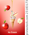 Apple Ice cream cone, Pour syrup, vector 23183173
