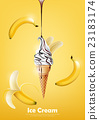 Banana Ice cream cone, Pour Chocolate syrup,vector 23183174
