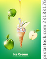 Green apple Ice cream cone , Pour syrup, vector 23183176