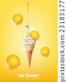Lemon Ice cream cone, Pour syrup, vector 23183177
