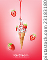 Strawberry Ice cream cone , Pour syrup, vector 23183180