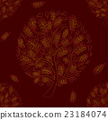 Orange Red Tree on Brown Red Background 23184074