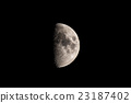 Half moon in black sky, detailed view of the surface. 23187402