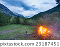 Burning camp fire into remote larch tree woodland 23187451