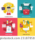 Plumbing Service 4 Flat Icons Square  23187858
