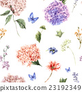 Floral seamless pattern with Blooming Hydrangea 23192349
