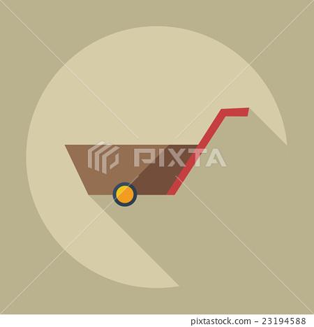 Flat modern design with shadow icons wheelbarrow 23194588