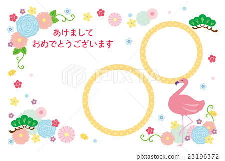 new years card template, new year's card, flamingo 23196372