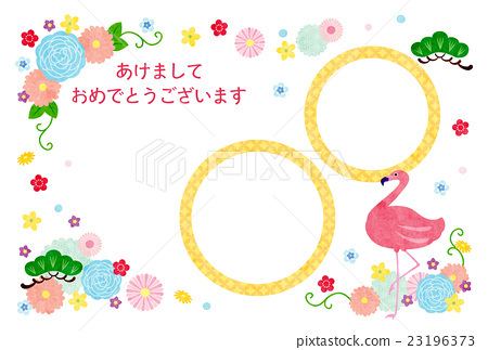 new years card template, new year's card, flamingo 23196373
