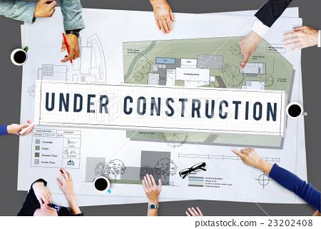 Under Construction Project Attention Building Concept 23202408