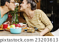 Couple Eating Food Feeding Sweet Concept 23203613