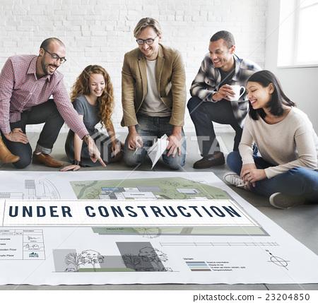Under Construction Project Attention Building Concept 23204850